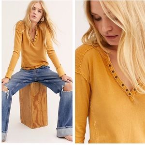 NWT Free People Military Mix Henley Shirt
